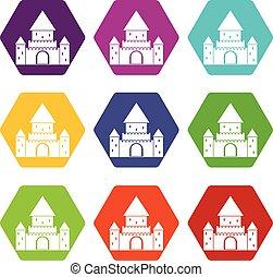 Chillon Castle, Switzerland icon set color hexahedron