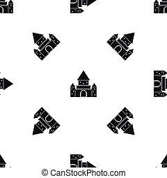 Chillon Castle, Switzerland pattern seamless black