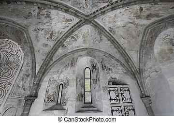 chillon, -, inre, gotisk, struktur, schweiz, slott, veytaux, valv