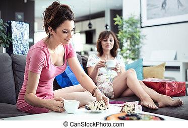 chillout, tid, bra, kaffe, och, söt, tårta, -, flickvänner, möte