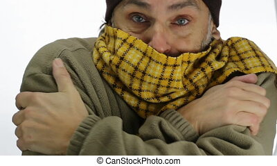 chilly scarf man - freezing Caucasian man over white...