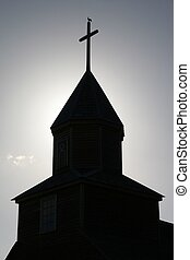 Silhouette of church tower on Lemuy island, Chiloe Chile