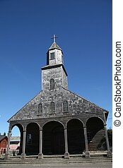 Typical wooden church of Anchao on Isla Quinchao, Chiloe province, Chile