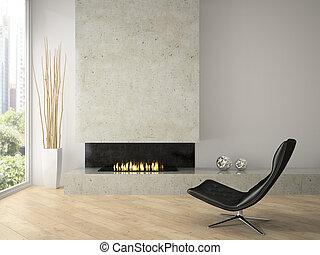 chimenea, interior, 3d, interpretación, moderno, diseño, desván