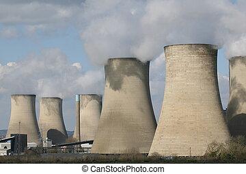chimeneas, carbón, estación, fuelled, potencia
