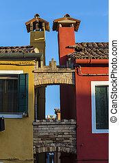 chimeneas, de, dos, adyacente, casas