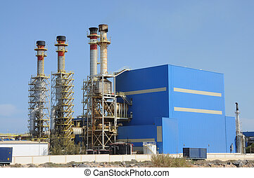 chimeneas, de, un, moderno, central eléctrica
