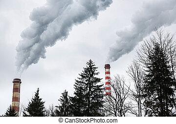 chimeneas, soplar, industrial, sucio, humo