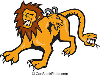 Illustration of a Chimera, mythical creature of Greek mythology depicted as a lion, with the head of a goat arising from its back, and a tail that ended in a snake's head viewed from front done in cartoon style on isolated background.