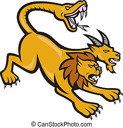 Illustration of a Chimera, mythical creature of Greek mythology depicted as a lion, with the head of a goat arising from its back, and a tail that ended in a snake's head viewed from side done in cartoon style on isolated background.
