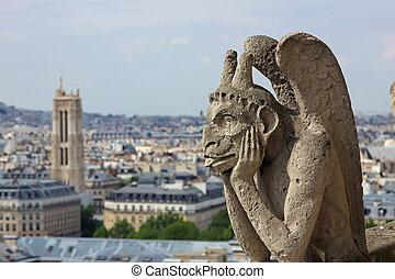 Chimera on Notre Dame Cathedral - Gargoyle on Notre Dame...