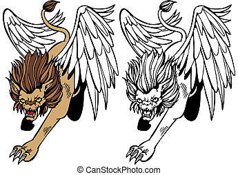 Mythical winged lion creature isolated on a white background.