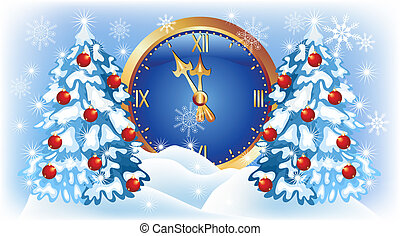 Chimes and fur trees - Christmas background with chimes and...