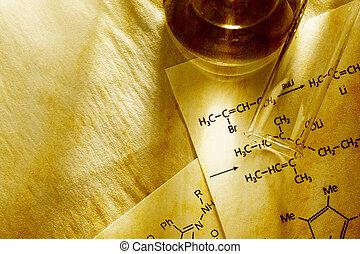 chimica, con, reazione, formula, in, intonando