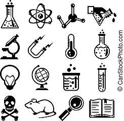 chimica, e, scienza, nero, icona