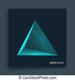 chimica, illustration., science., pyramid., coperchio, template., collegamento, vettore, disegno, futuristico, molecolare, grid., tecnologia, style., struttura, 3d