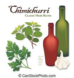 chimichurri, クラシック, ハーブ, 混ざり合いなさい