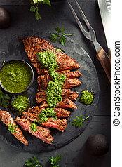 chimichurri, 料理された, ステーキ, スカート, 手製