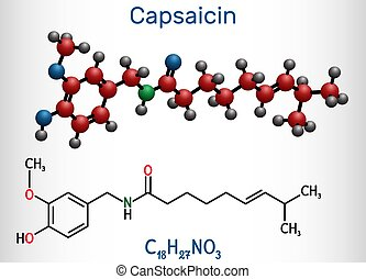 chimico, capsaicin, estratto, molecola, pepe, molecule., ...