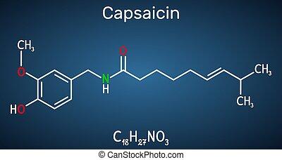 chimico, capsaicin, estratto, pepe, molecule., peperoncino, ...