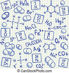 chimico, doodles, scuola, carta, quadrato