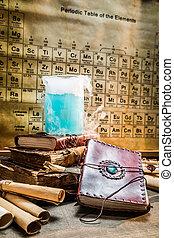 chimico, laboratorio, ricette, analisi, vecchio