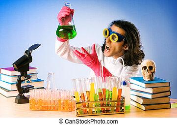 chimico, laboratorio, sperimentare, con, soluzioni