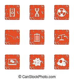 chimico, miglioramento, icone, set, grunge, stile