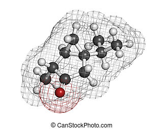chimico, molecola, thujone, absinthe, structure.