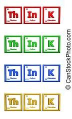 chimico, simbolo, parola, pensare