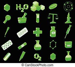 chimie, 3d, icônes