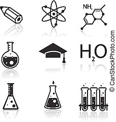 chimie, apprentissage, toile, applications, icônes