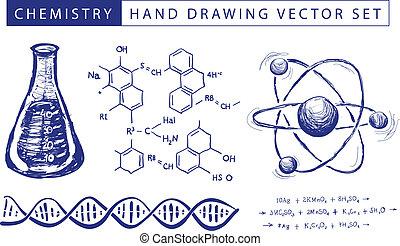 chimie, dessin, main
