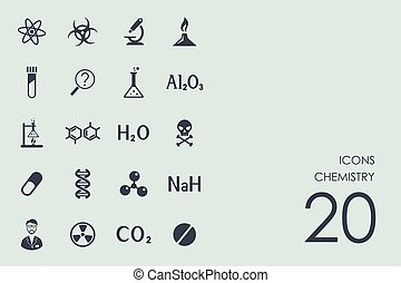 chimie, ensemble, icônes