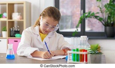 chimie, girl, maison, étudier, eprouvettes