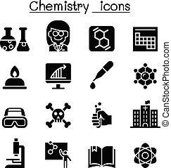 chimie, icône, ensemble