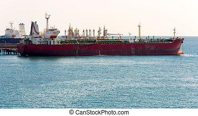 chimique, amarré, pétrolier, vieux port