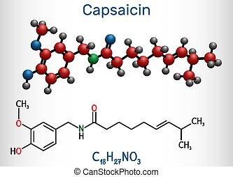 chimique, capsaicin, extrait, molécule, poivre, molecule., ...