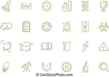 chimique, coloré, expérience, science, pratique, laboratoire, symboles, équipement, vecteur, innovation, laboratoire, icon., biologique, scientifique
