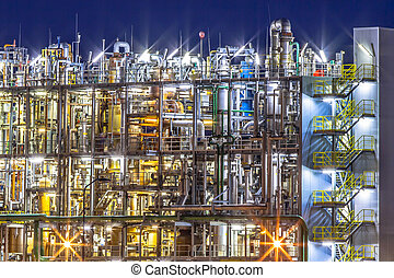 chimique, détails, industriel, usine, nuit