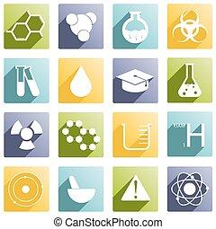chimique, différent, 16, icônes