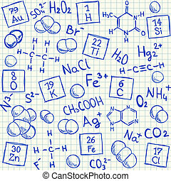 chimique, doodles, école, papier, carré