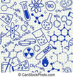 chimique, doodles, seamless, modèle