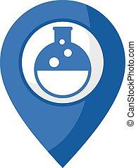 chimique, emplacement, icône