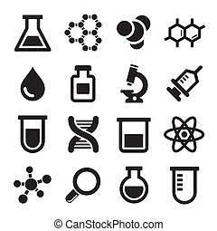 chimique, ensemble, icônes