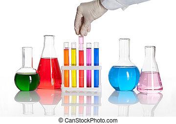 chimique, essai, flacons, ensemble, tubes