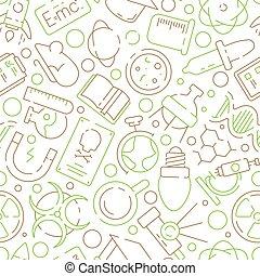 chimique, expérience scientifique, science, industrie, pattern., seamless, laboratoire, symboles, équipement, vecteur, fond, physique, ou