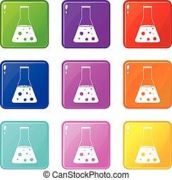 chimique, flacon, 9, ensemble, icônes