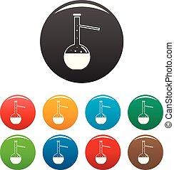 chimique, flacon, ensemble, couleur, icônes