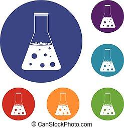 chimique, flacon, ensemble, icônes